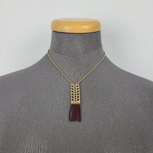 Lia Sophia Gold & Purple Tassel Necklace